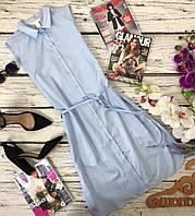 Лаконичное платье-рубашка без рукавов из хлопокового полотна  DR3728