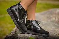 Ботинки женские черного цвета из натуральной замши и кожи с фактурой питон, Коллекция Осень-Весна, Б-152