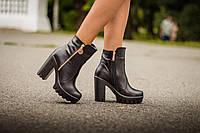 Ботинки черного цвета из натуральной кожи осень-зима коллекция 2016-2017, Б-421
