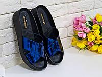 Шлепанцы из экокожи синее зеркальное на удобной подошве хит сезона коллекция лето-весна 2016, С-563