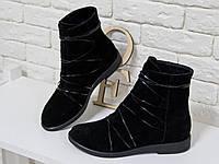 Новинка сезона 2018 года - стильные женские Ботинки на низком ходу из натуральной замши черного цвета, со шнуровкой по всей высоте, Коллекция
