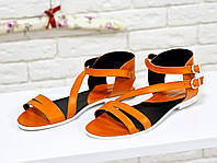 Облегченные босоножки из натуральной кожи ярко оранжевого цвета, С-680