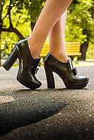 Туфли из натуральной кожи черного цвета с бантиком на высоком устойчивом каблуке коллекция осень-зима 2016-2017, Т-40