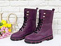 Ботинки в бордовой коже на шнурках на устойчивой подошве черного и бордового цвета, Коллекция Осень-Зима, Б-16077