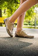 """Туфли из натуральной кожи бежевого цвета со вставками из итальянской кожи с текстурой """"чешуя"""",  Т-415"""