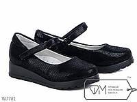 Детские туфли для девочки  черные с платформой