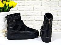 Эксклюзивные ботинки в  черной коже и замше с отделкой из черной эластичной ленты, Б-16075