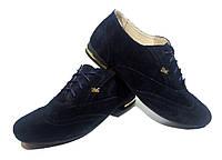 Туфли женские комфорт синие натуральная замша на шнуровке