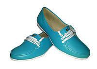 Туфли женские балетки натуральная кожа бирюзовые на шнуровке