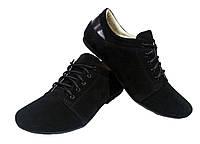Туфли женские натуральная замша черные на шнуровке, фото 1