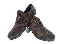 Туфли женские комфорт коричневые натуральная замша на шнуровке