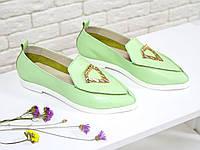 Облегченные туфли из натуральной кожи нежно мятного цвета, Коллекция Весна-Лето 2017, Т-1707