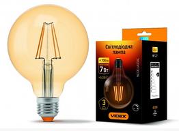 Лампа Videx Filament G95FAD 7W E27 2200K 220V бронза диммер