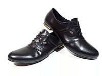 Туфли женские комфорт черные натуральная кожа на шнуровке