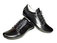 Туфли женские натуральная кожа черные на шнуровке