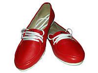 Туфли женские балетки натуральная кожа красные на шнуровке