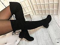 Черные замшевые ботфорты на низком ходу сзади на завязках