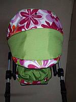 301 Кукольная коляска-трансформер 2в1 с переноской Adbor Mini Ring (салатовый, цветы разные)