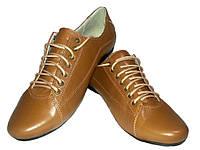 Туфли женские комфорт натуральная кожа коричневые на шнуровке
