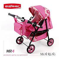 3011 Кукольная коляска-трансформер 2в1 с переноской Adbor Mini Ring (MR4, розовый, цветы на кремовом)