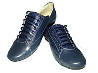 Туфли женские комфорт натуральная кожа синие на шнуровке