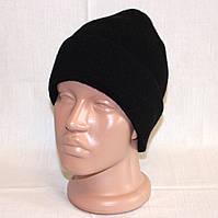 Черная зимняя шапка, полушерсть на 7-8 лет