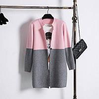 Кардиган женский двухцветный из шерсти розово-серый
