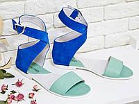 Сандалии из натуральной кожи нежного мятного цвета и натуральной замши ярко синего цвета, на низком ходу, Коллекция Весна-Лето 2017, Б-600