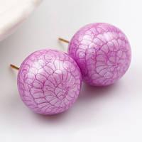Серьги гвоздики 92061 размер 15*15 мм, фиолетовые камни, позолота 18К, фото 1