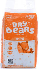 ПОДГУЗНИКИ DRY BEARS FUN&CARE 2 MINI (3-6 КГ), 52 ШТ.