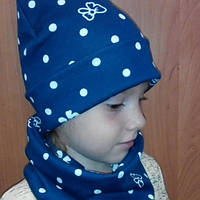 Набор комплект шапка и шарф снуд трикотажная двойная на девочку 4-6 лет.