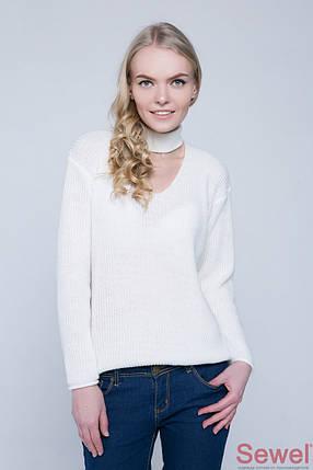 Белый женский вязаный свитер, фото 2