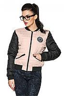 Модная двухцветная стеганая куртка-бомбер