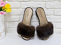 Норковые Шлепки из натуральной кожи цвета темное золото и мехом натуральной  норочки, коллекция Весна- cae915b7a99