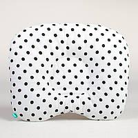 """Подушка для новорожденных от кривошеи """"Черный горошек на белом"""""""