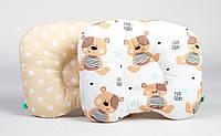 """Подушка для новорожденного двухсторонняя """"Мишутки + горошек на бежевом"""""""