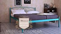 """Кованая металлическая кровать """"Верона"""" 140х190, Металлик голубой"""