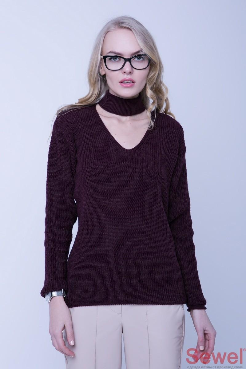 Вязаный женский теплый джемпер