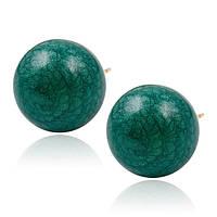 Серьги гвоздики 92061 размер 15*15 мм, тёмно-зелёный камень, позолота 18К, фото 1