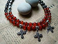 Бусы из сердолика и гематита со згардами-крестами
