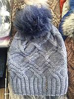 Вязанная шапка на флисе с бубоном