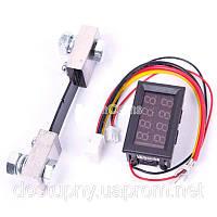 Цифровой амперметр вольтметр постоянного тока на микроконтроллере электронный встраиваемый 100А с шунтом