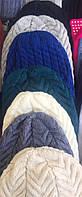 Женская вязанная шапка на флисе