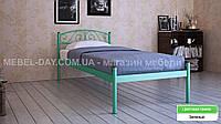 """Кованая металлическая кровать """"Верона"""" 80х200, Шагрень зеленая"""