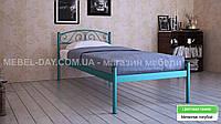 """Кованая металлическая кровать """"Верона"""" 90х200, Металлик голубой"""