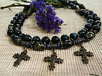 Бусы из улексита и лазурита со згардами-крестами