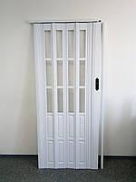 Дверь белая гармошка полуостекленная 822, 860х2030х12мм