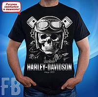 Футболка с черепом Harley-Davidson (Харли Дэвидсон) черного цвета