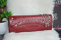 Красивый бордовый женский клатч., фото 1