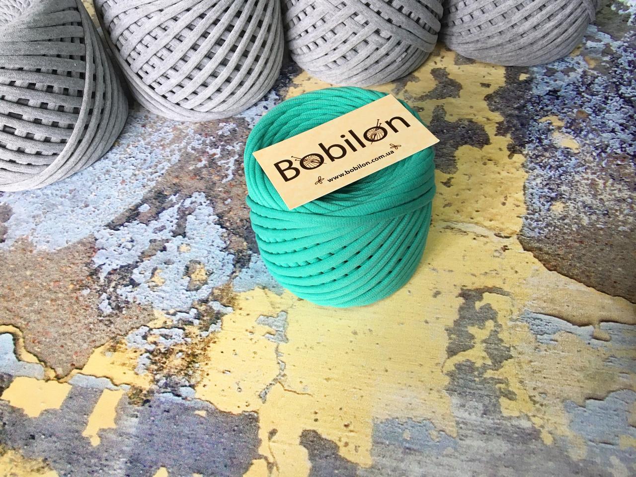 Трикотажная пряжа Bobilon Medium (7-9 мм) Tiffany Мятный 50 метров